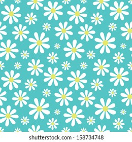 Seamless background with cute daisy pattern. Great for Baby Shower, Wedding, Birthday, Mother's Day, Easter, Scrapbook, Gift Wrap, surface textures. See my folio for other versions.