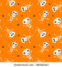 Seamless background with cute dancing cartoon Skeletons for Halloween