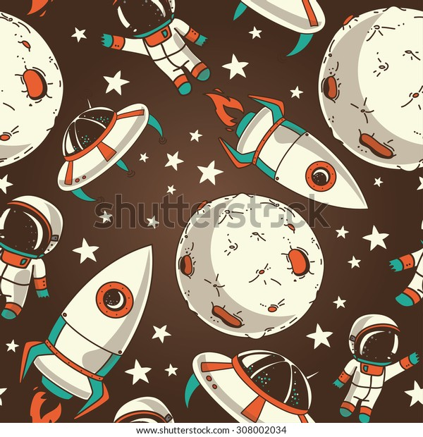 seamless background with cute doodle astronauts, planets, rockets and stars, retro style, vector illustration
