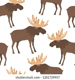 Seamless background with cute moose cartoon, cute vector elk with large horns, vector illustration