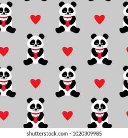 Seamless background with cute pandas and hearts. seamless panda bears