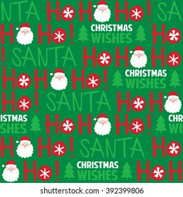 Seamless background with cute Santa and Ho ho ho design suitable for wrapping, wallpaper, decoration background