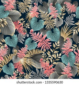 Seamless background dark leaves of tropical exotic plants. Pattern jungle with palm trees and lianas. Vector 3d illustration.