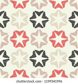 Seamless background with decorative stars. Brushwork. Hand hatching. Stars in the sky. Scratches texture. Can be used for wallpaper, textile, invitation card, wrapping, web page background.