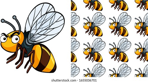 Seamless background design with angry bee illustration