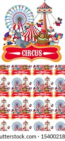 Seamless background design with circus rides illustration