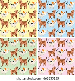 Seamless background design with cute dogs and cats illustration