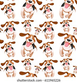 Seamless background design with little dogs illustration