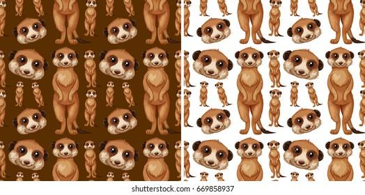 Seamless background design with meerkats illustration