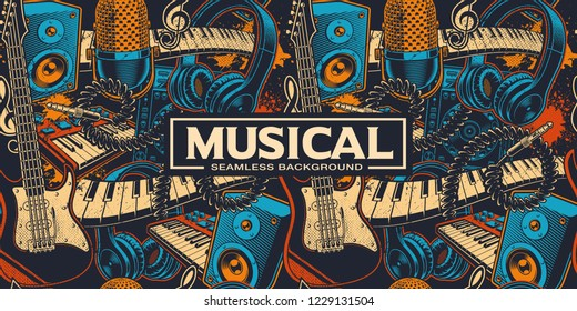 Seamless background with different cartoon musical instruments. Music art. Colours, are on the separate groups.