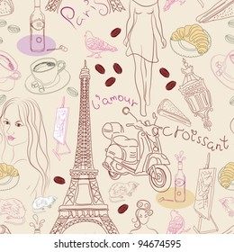 Seamless background with different Paris doodle elements,  vector illustration