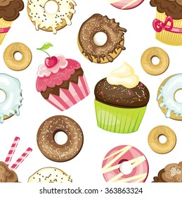 Seamless background with different sweets and desserts. tiled donuts and cupcakes pattern. Cute wrapping paper texture. Vector illustrated