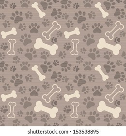 Seamless background - dog paw print and bone