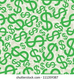 Seamless background with dollar signs