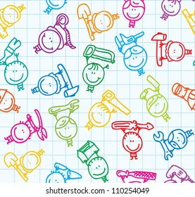 Seamless background of doodle kids with mechanic tools