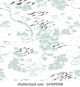 Seamless background of drawed map with forests, lakes, rivers, mountains, hills, cities with titles.
