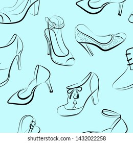 Seamless background with drawings contour of silhouettes of women's shoes. Dark stylish contours of women's shoes on light pastel background.