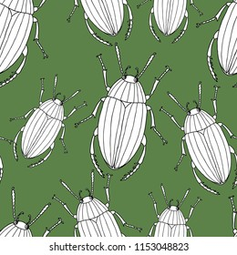 Seamless background of the drawn beetles