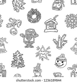 Seamless background of drawn christmas symbols