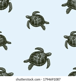 Seamless background of drawn sea turtles swimming in water