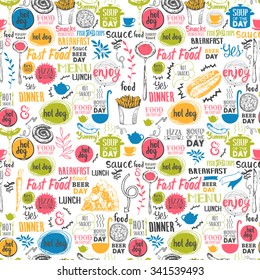 Seamless background with drink and food symbols. Menu pattern. Vector Illustration with funny lettering and labels on white. Decorative elements for your packing design. Multicolor.