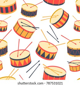Seamless background with drums and drum sticks. Vector illustration. Pattern. Flat.