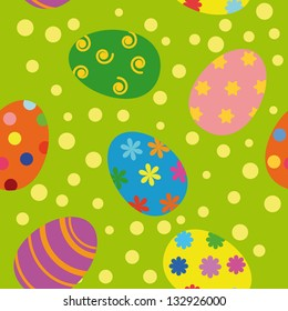 Seamless background with Easter eggs of different color.