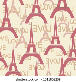 Seamless background with the Eiffel tower and  word love.
