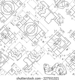 Seamless background of engineering drawings of parts. Contour. Vector illustration