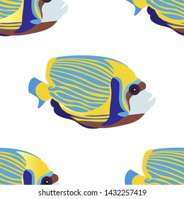 Seamless background, Exotic Fish emperor angelfish. In minimalist style. Cartoon flat vector illustration