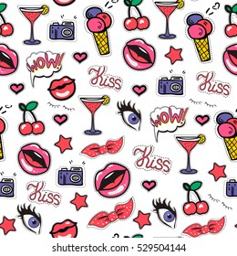 Seamless background with fashion patch badges with lips, cocktail, eyes and other elements. Vector pattern with stickers, pins, patches in cartoon 80s-90s comic style.