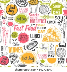 Seamless background with fastfood symbols. Menu pattern. Vector Illustration with funny food lettering and labels on white. Decorative elements for your packing design. Multicolor decor.