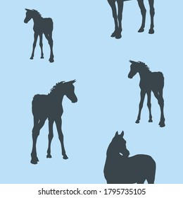 seamless background of figures of Arabian horses, mares with foal and stallion on colored background