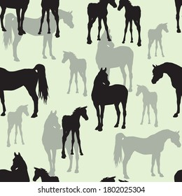 seamless background of figures of Arabian horses, mares with foal and stallion on color background