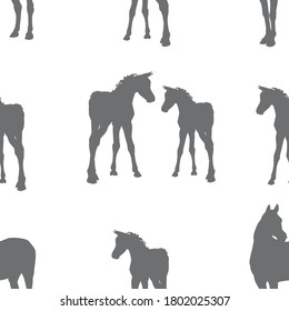 seamless background of figures of Arabian horses, mares with foal and stallion on white background