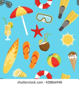 seamless background flat summerset pattern with on a beach theme and vacation at sea vector illustration