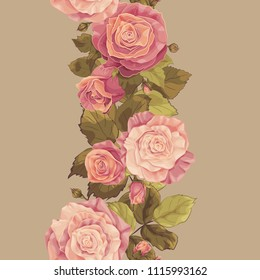 Seamless background with floral ornament. Colorful vector floral pattern with roses, rose buds and leaves. Endless vertical border. Pastel colors. Rose pink.