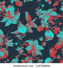 Seamless background floral pattern. Abstract flowers with bird halcyon around on black. Pattern for textile, fabric and other prints purpose. Abstract hand drawn artwork, vector - stock.