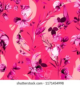 Seamless background floral pattern. Abstract flowers, roses, branches with leaves on red. Pattern for textile, fabric and other prints purpose. Abstract hand drawn artwork, vector - stock.