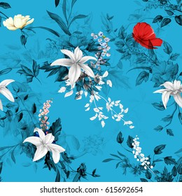 Seamless background floral pattern. Poppy, roses, wild rose, lily of the valley on blue. Watercolor, hand drawn. Vector - stock.