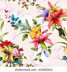 Seamless background floral pattern. Roses, wild rose, lily of the valley on pastel. Watercolor, hand drawn. Vector - stock.