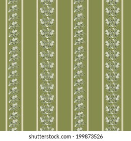 Seamless background with floral pattern and stripes. Vector illustration.