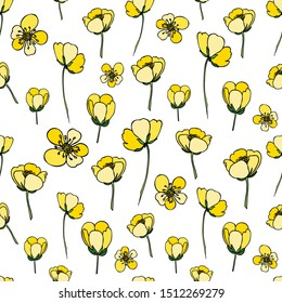 Seamless background with flowers and buds. For design and decoration of fabric, paper, Wallpaper, packaging. Yellow flowers on white background. Buttercups.Ranunculus.