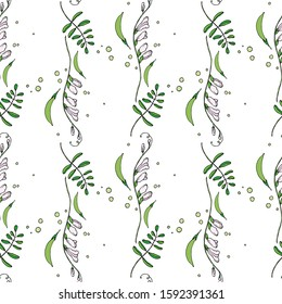 Seamless background with flowers, buds, pods, peas and leaves.For design and decoration of fabric, paper, Wallpaper, packaging. Pink flowers on white background. Sweet peas, bindweed.