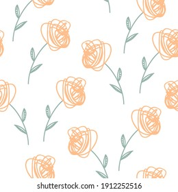Seamless background with flowers. Colorful ornament items with Spring symbols. For printing wrapping paper, wallpaper, packaging, fabric. Hand Drawn vector illustration.
