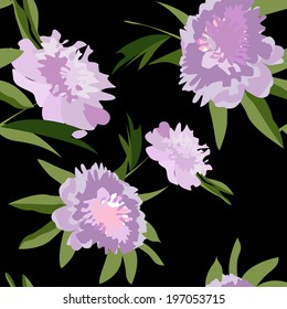 Seamless background with flowers of pink color.
