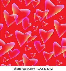 Seamless background with flying hearts.Transparent elements on red background. Vector symbols of love in shape of heart for Happy Women's, Mother's, Valentine's Day, birthday greeting card design.