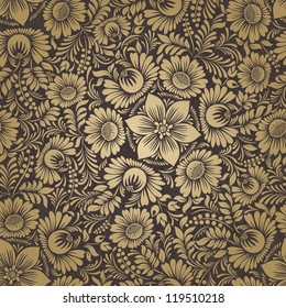 Seamless background in folk style gold