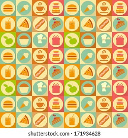 Seamless Background - Food Labels in Retro Style - Flat Design. Vector Illustrations