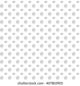 Seamless background with footprint of cat and dog and hearts. Pattern of Animal Paw Print grey color on white background. Vector illustration